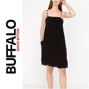 NWT BUFFALO Tiered Dress pockets fringe straps